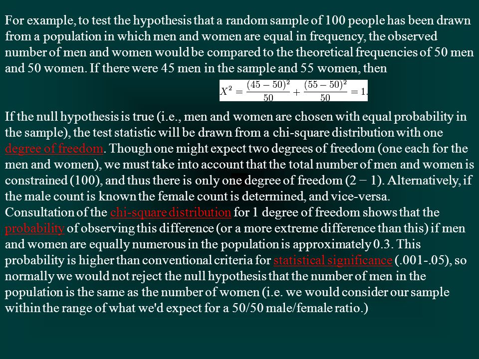 For example, to test the hypothesis that a random sample of 100 people has been drawn from a population in which men and women are equal in frequency, the observed number of men and women would be compared to the theoretical frequencies of 50 men and 50 women.