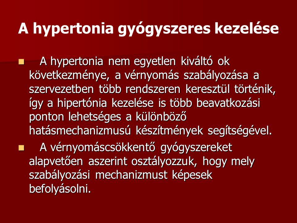 A hypertonia gyógyszeres kezelése A hypertonia nem egyetlen kiváltó ok következménye, a vérnyomás szabályozása a szervezetben több rendszeren keresztü