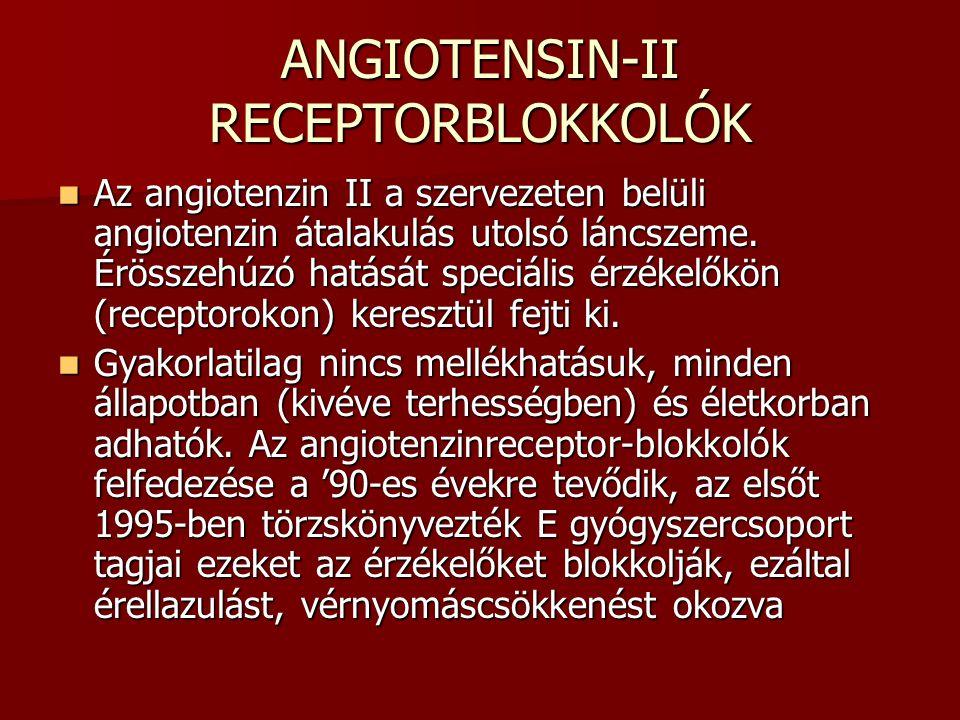 ANGIOTENSIN-II RECEPTORBLOKKOLÓK Az angiotenzin II a szervezeten belüli angiotenzin átalakulás utolsó láncszeme. Érösszehúzó hatását speciális érzékel