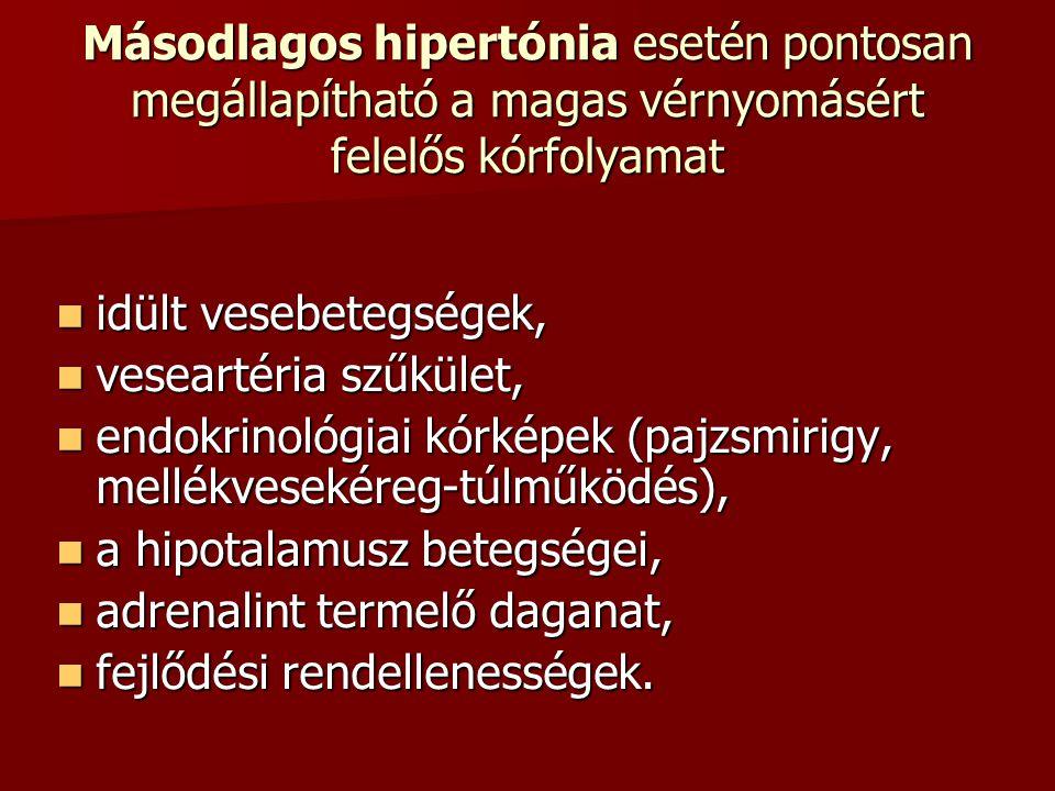 Másodlagos hipertónia esetén pontosan megállapítható a magas vérnyomásért felelős kórfolyamat idült vesebetegségek, idült vesebetegségek, veseartéria