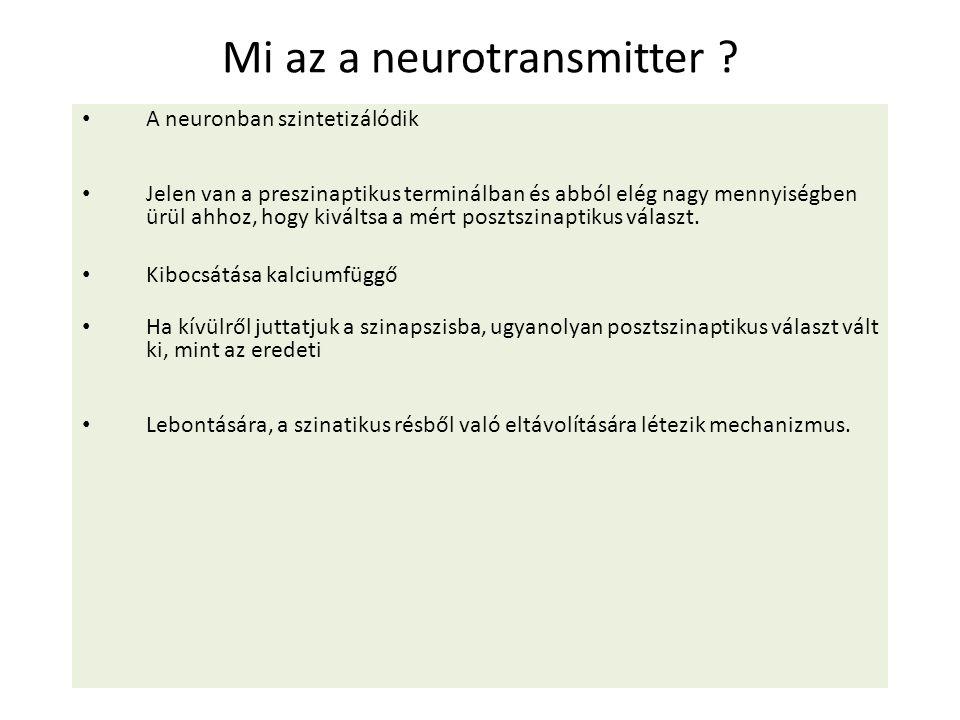 Mi az a neurotransmitter ? A neuronban szintetizálódik Jelen van a preszinaptikus terminálban és abból elég nagy mennyiségben ürül ahhoz, hogy kiválts