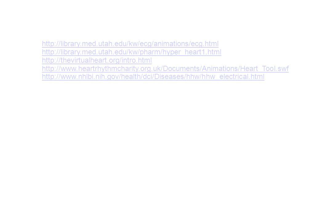 http://library.med.utah.edu/kw/ecg/animations/ecg.html http://library.med.utah.edu/kw/pharm/hyper_heart1.html http://thevirtualheart.org/intro.html ht