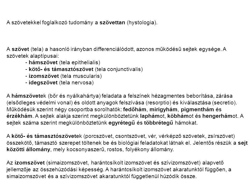 A szövetekkel foglalkozó tudomány a szövettan (hystologia).