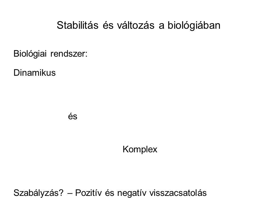 Stabilitás és változás a biológiában Biológiai rendszer: Dinamikus és Komplex Szabályzás.