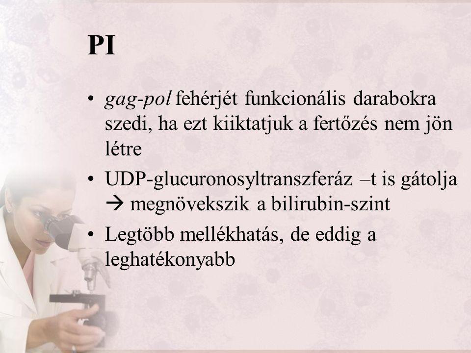 PI gag-pol fehérjét funkcionális darabokra szedi, ha ezt kiiktatjuk a fertőzés nem jön létre UDP-glucuronosyltranszferáz –t is gátolja  megnövekszik