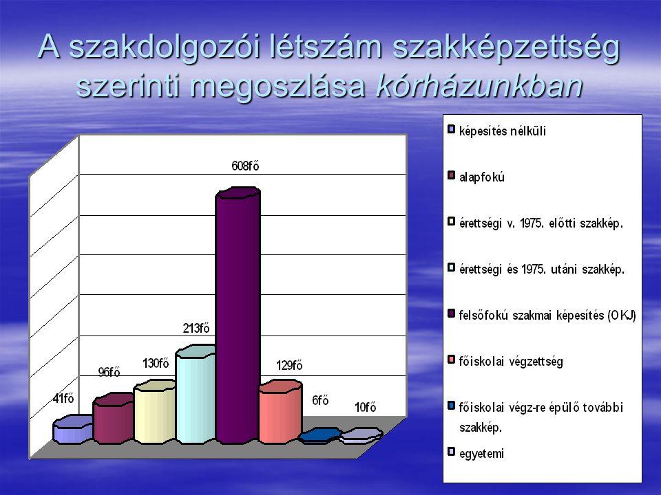 13 A szakdolgozói létszám szakképzettség szerinti megoszlása kórházunkban