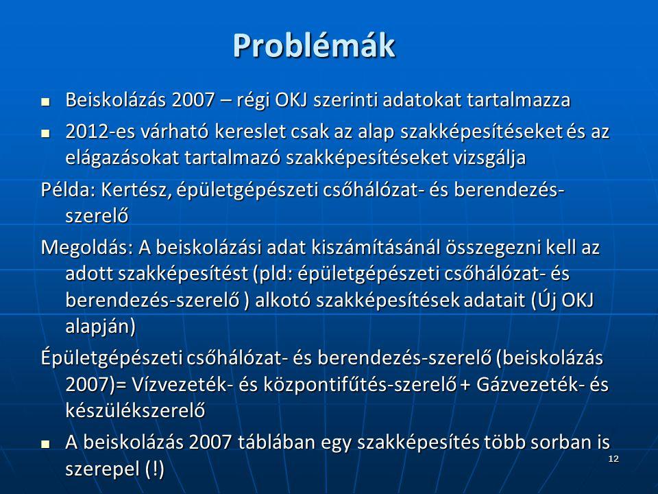 12 Problémák Beiskolázás 2007 – régi OKJ szerinti adatokat tartalmazza Beiskolázás 2007 – régi OKJ szerinti adatokat tartalmazza 2012-es várható kereslet csak az alap szakképesítéseket és az elágazásokat tartalmazó szakképesítéseket vizsgálja 2012-es várható kereslet csak az alap szakképesítéseket és az elágazásokat tartalmazó szakképesítéseket vizsgálja Példa: Kertész, épületgépészeti csőhálózat- és berendezés- szerelő Megoldás: A beiskolázási adat kiszámításánál összegezni kell az adott szakképesítést (pld: épületgépészeti csőhálózat- és berendezés-szerelő ) alkotó szakképesítések adatait (Új OKJ alapján) Épületgépészeti csőhálózat- és berendezés-szerelő (beiskolázás 2007)= Vízvezeték- és központifűtés-szerelő + Gázvezeték- és készülékszerelő A beiskolázás 2007 táblában egy szakképesítés több sorban is szerepel (!) A beiskolázás 2007 táblában egy szakképesítés több sorban is szerepel (!)