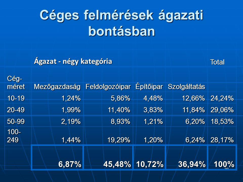 20 Céges felmérések ágazati bontásban Ágazat - négy kategória Total Cég- méret Mezőgazdaság Feldolgozóipar Építőipar Szolgáltatás 10-191,24%5,86%4,48%12,66%24,24% 20-491,99%11,40%3,83%11,84%29,06% 50-992,19%8,93%1,21%6,20%18,53% 100- 249 1,44%19,29%1,20%6,24%28,17% 6,87%45,48%10,72%36,94%100%