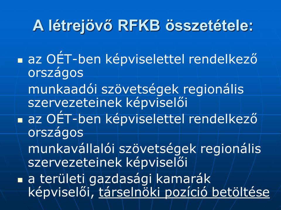 4 A létrejövő RFKB összetétele: az OÉT-ben képviselettel rendelkező országos munkaadói szövetségek regionális szervezeteinek képviselői az OÉT-ben képviselettel rendelkező országos munkavállalói szövetségek regionális szervezeteinek képviselői a területi gazdasági kamarák képviselői, társelnöki pozíció betöltése