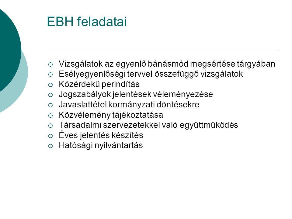 EBH feladatai  Vizsgálatok az egyenlő bánásmód megsértése tárgyában  Esélyegyenlőségi tervvel összefüggő vizsgálatok  Közérdekű perindítás  Jogszabályok jelentések véleményezése  Javaslattétel kormányzati döntésekre  Közvélemény tájékoztatása  Társadalmi szervezetekkel való együttműködés  Éves jelentés készítés  Hatósági nyilvántartás