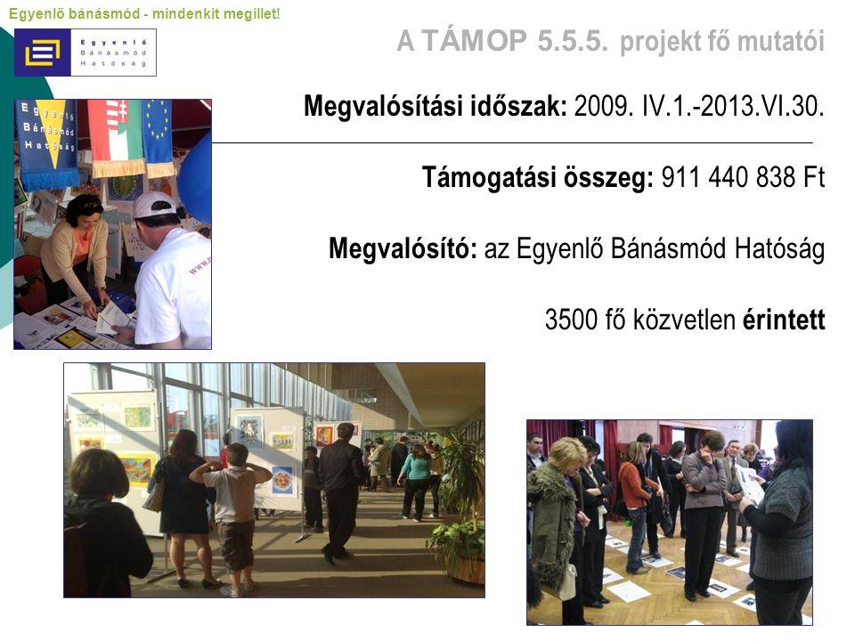 A TÁMOP 5.5.5. projekt fő mutatói Megvalósítási időszak: 2009. IV.1.-2013.VI.30. Támogatási összeg: 911 440 838 Ft Megvalósító: az Egyenlő Bánásmód Ha