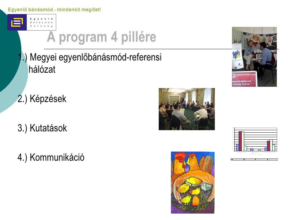 A program 4 pillére 1.) Megyei egyenlőbánásmód-referensi hálózat 2.) Képzések 3.) Kutatások 4.) Kommunikáció Egyenlő bánásmód - mindenkit megillet!