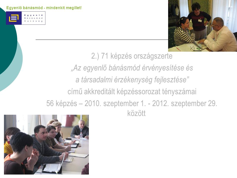 """2.) 71 képzés országszerte """"Az egyenlő bánásmód érvényesítése és a társadalmi érzékenység fejlesztése"""" című akkreditált képzéssorozat tényszámai 56 ké"""