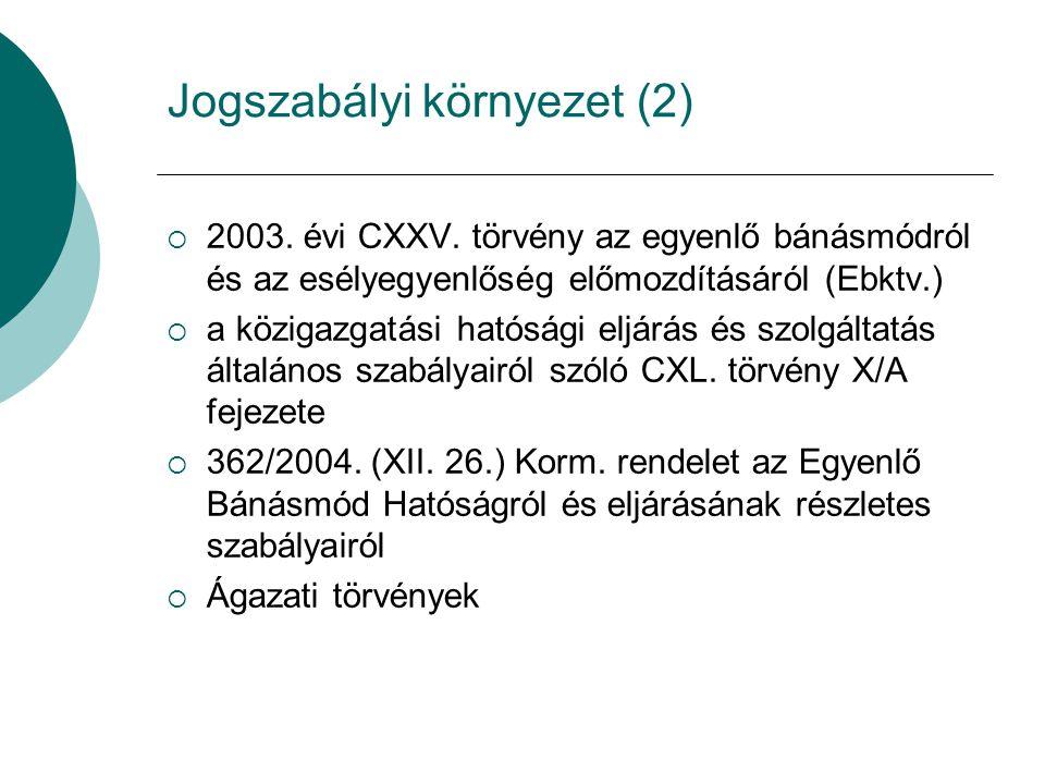Jogszabályi környezet (2)  2003. évi CXXV. törvény az egyenlő bánásmódról és az esélyegyenlőség előmozdításáról (Ebktv.)  a közigazgatási hatósági e