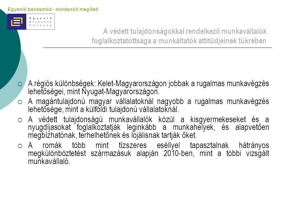 A védett tulajdonságokkal rendelkező munkavállalók foglalkoztatottsága a munkáltatók attitűdjeinek tükrében  A régiós különbségek: Kelet-Magyarország
