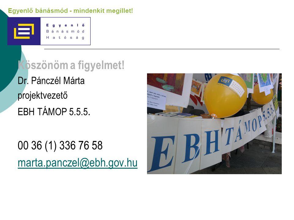 Köszönöm a figyelmet! Dr. Pánczél Márta projektvezető EBH TÁMOP 5.5.5. 00 36 (1) 336 76 58 marta.panczel@ebh.gov.hu Egyenlő bánásmód - mindenkit megil