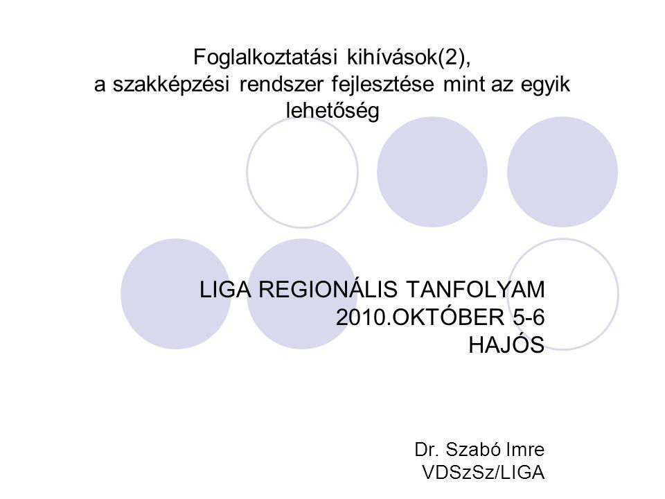 Foglalkoztatási kihívások(2), a szakképzési rendszer fejlesztése mint az egyik lehetőség LIGA REGIONÁLIS TANFOLYAM 2010.OKTÓBER 5-6 HAJÓS Dr. Szabó Im