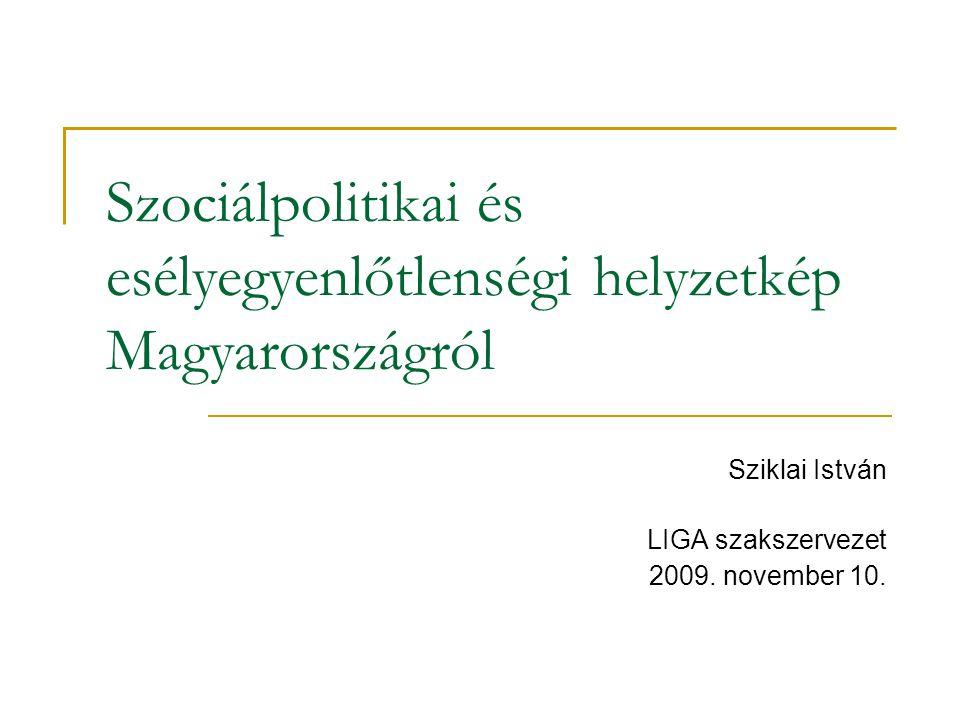 Szociálpolitikai és esélyegyenlőtlenségi helyzetkép Magyarországról Sziklai István LIGA szakszervezet 2009.