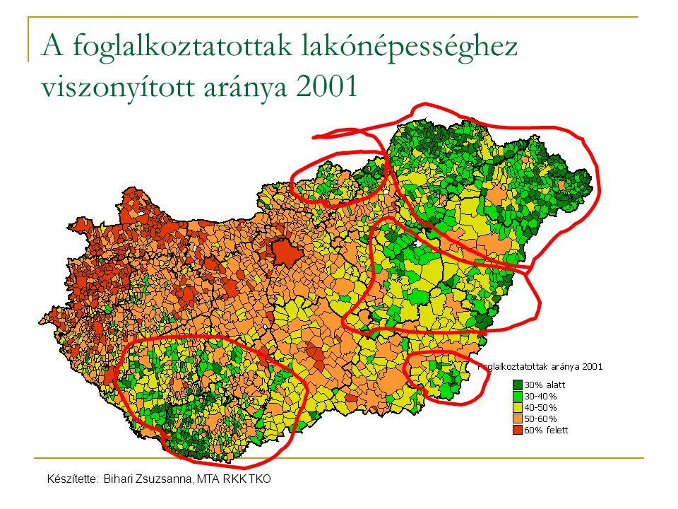 A foglalkoztatottak lakónépességhez viszonyított aránya 2001 Készítette: Bihari Zsuzsanna, MTA RKK TKO
