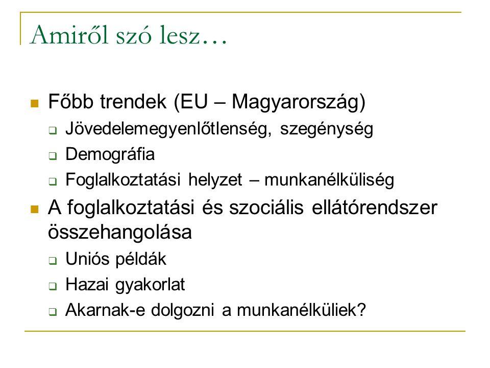 Amiről szó lesz… Főbb trendek (EU – Magyarország)  Jövedelemegyenlőtlenség, szegénység  Demográfia  Foglalkoztatási helyzet – munkanélküliség A foglalkoztatási és szociális ellátórendszer összehangolása  Uniós példák  Hazai gyakorlat  Akarnak-e dolgozni a munkanélküliek