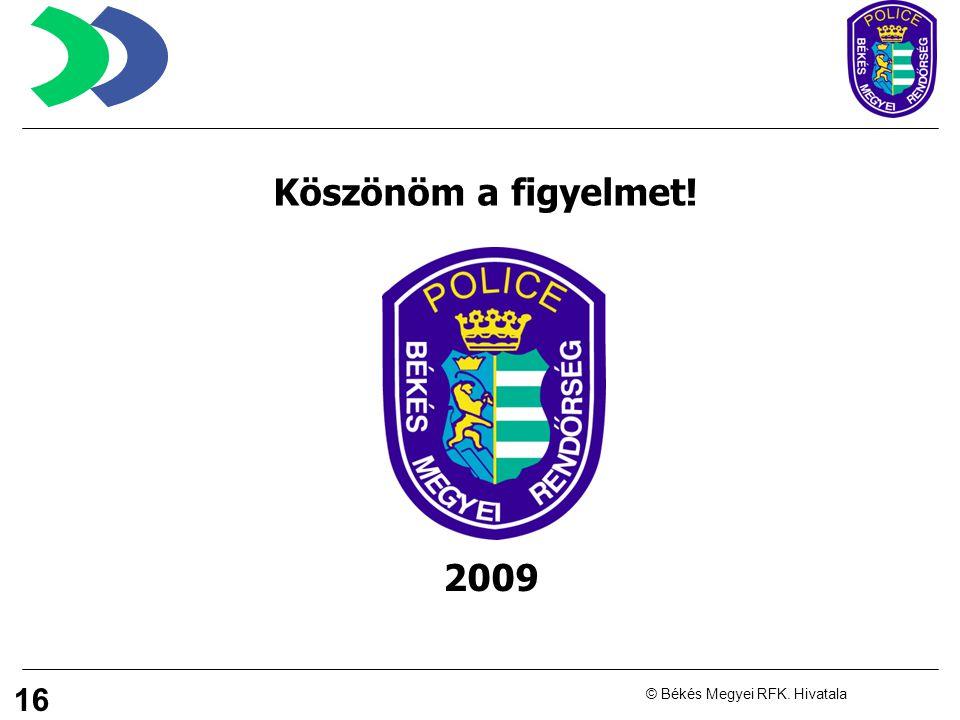 16 © Békés Megyei RFK. Hivatala Köszönöm a figyelmet! 2009
