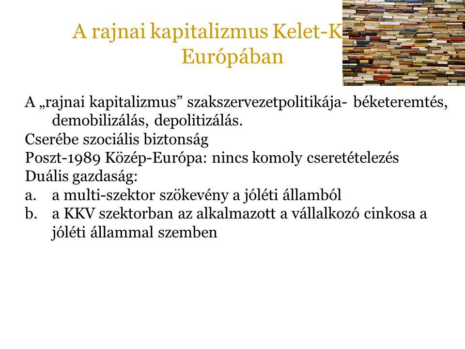"""A rajnai kapitalizmus Kelet-Közép- Európában A """"rajnai kapitalizmus"""" szakszervezetpolitikája- béketeremtés, demobilizálás, depolitizálás. Cserébe szoc"""