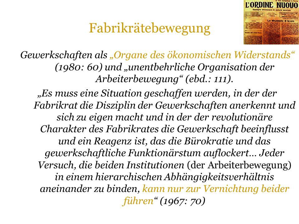 """Fabrikrätebewegung Gewerkschaften als """"Organe des ökonomischen Widerstands (1980: 60) und """"unentbehrliche Organisation der Arbeiterbewegung (ebd.: 111)."""