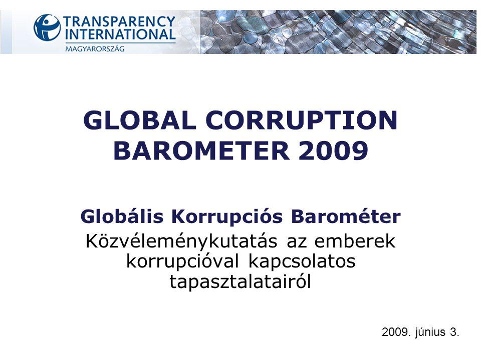 A lakosság korrupcióval kapcsolatos véleményét és tapasztalatait tárja fel 2008 október és 2009 február között zajlott a felmérés 69 országot vizsgáltak Összesen 73.132 embert kérdeztek meg GCB 2009 - A felmérésről