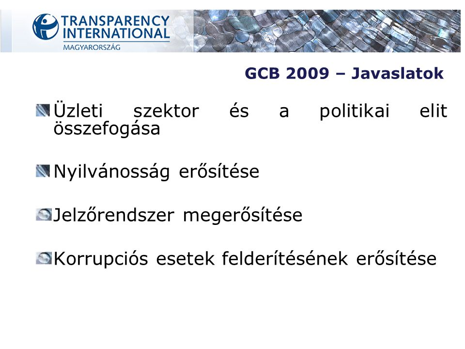 Üzleti szektor és a politikai elit összefogása Nyilvánosság erősítése Jelzőrendszer megerősítése Korrupciós esetek felderítésének erősítése GCB 2009 – Javaslatok