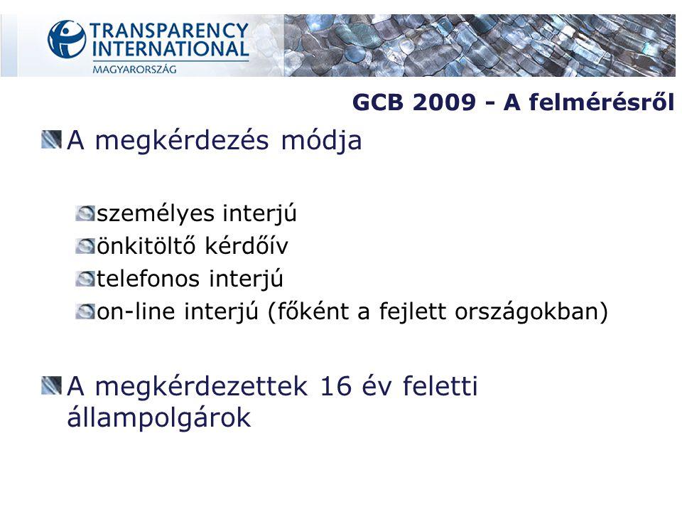 A megkérdezés módja személyes interjú önkitöltő kérdőív telefonos interjú on-line interjú (főként a fejlett országokban) A megkérdezettek 16 év feletti állampolgárok GCB 2009 - A felmérésről
