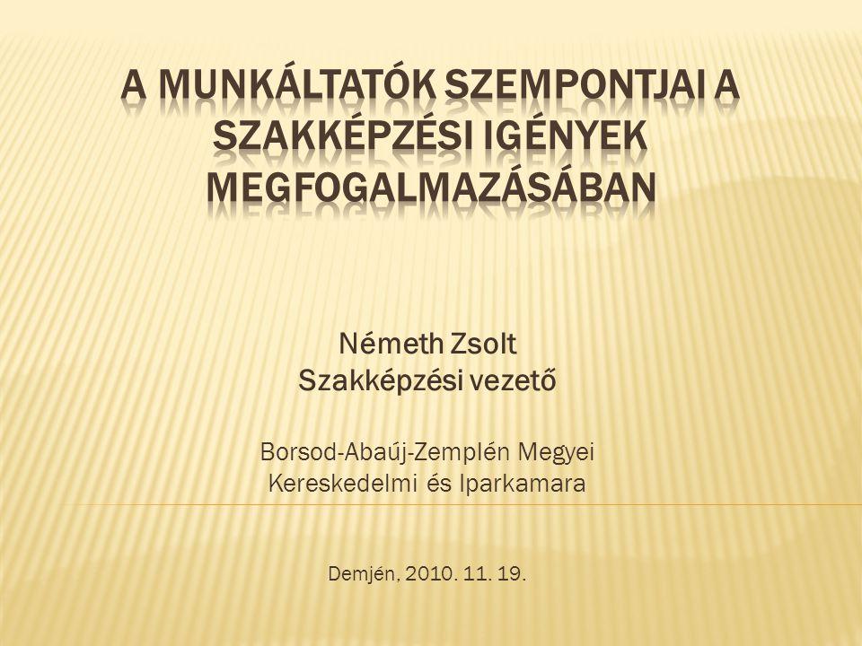 Németh Zsolt Szakképzési vezető Borsod-Abaúj-Zemplén Megyei Kereskedelmi és Iparkamara Demjén, 2010. 11. 19.