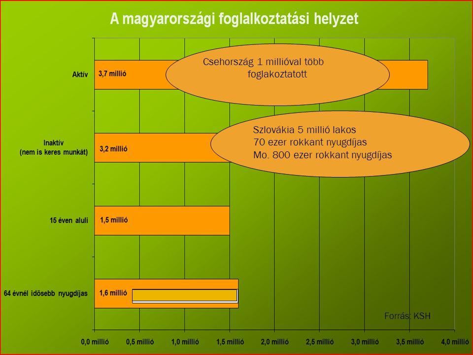 Szlovákia 5 millió lakos 70 ezer rokkant nyugdíjas Mo. 800 ezer rokkant nyugdíjas Csehország 1 millióval több foglakoztatott Forrás: KSH