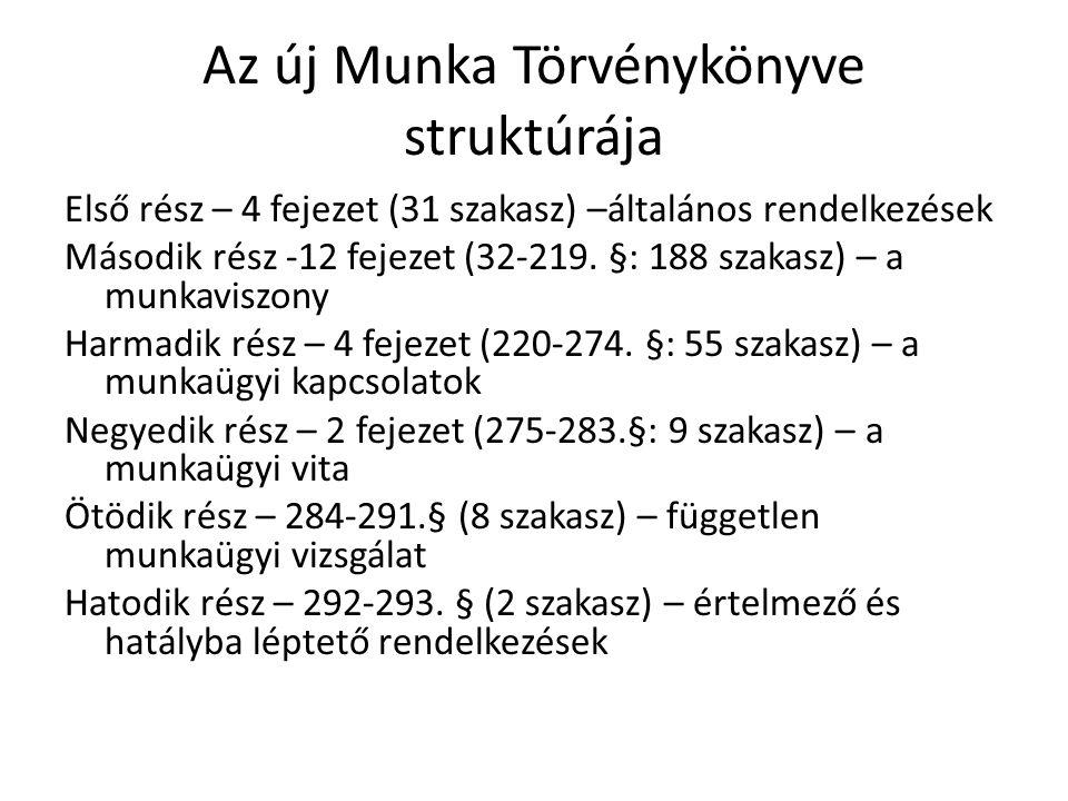 Az új Munka Törvénykönyve struktúrája Első rész – 4 fejezet (31 szakasz) –általános rendelkezések Második rész -12 fejezet (32-219.