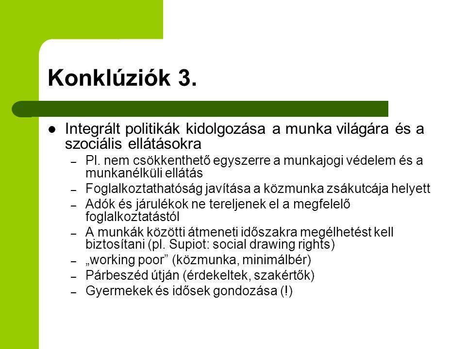 Konklúziók 3. Integrált politikák kidolgozása a munka világára és a szociális ellátásokra – Pl.