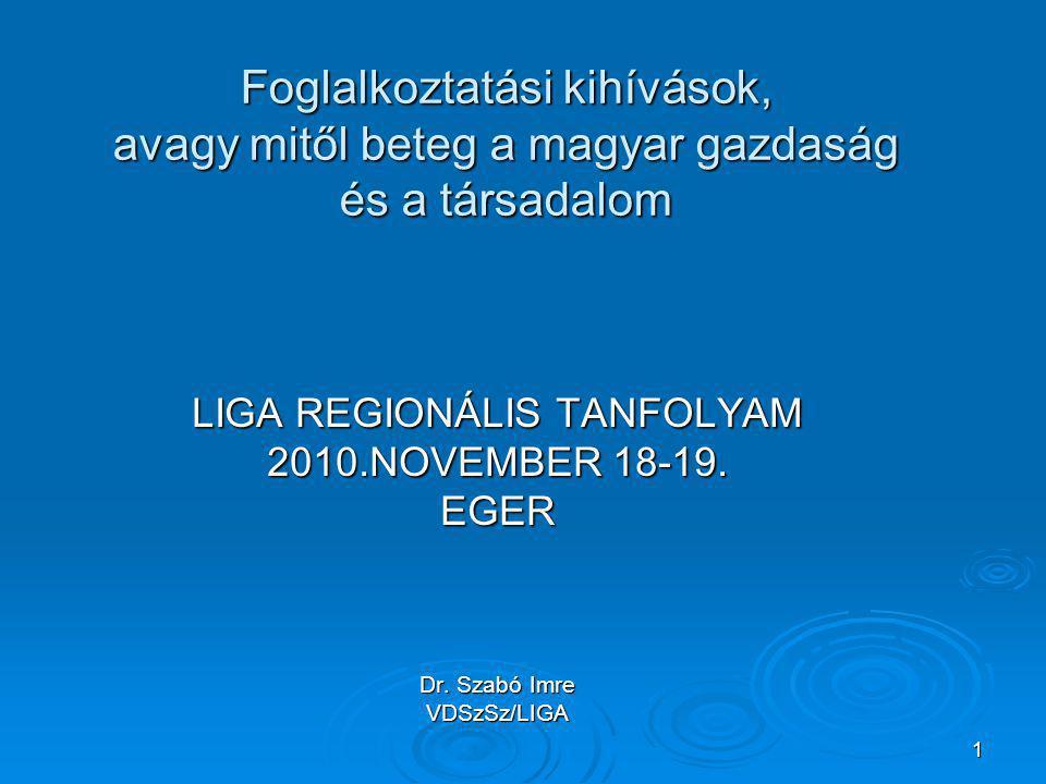 1 Foglalkoztatási kihívások, avagy mitől beteg a magyar gazdaság és a társadalom LIGA REGIONÁLIS TANFOLYAM 2010.NOVEMBER 18-19. EGER Dr. Szabó Imre VD