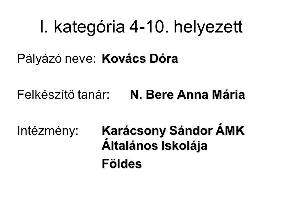 I. kategória 4-10. helyezett Kovács Dóra Pályázó neve: Kovács Dóra N.