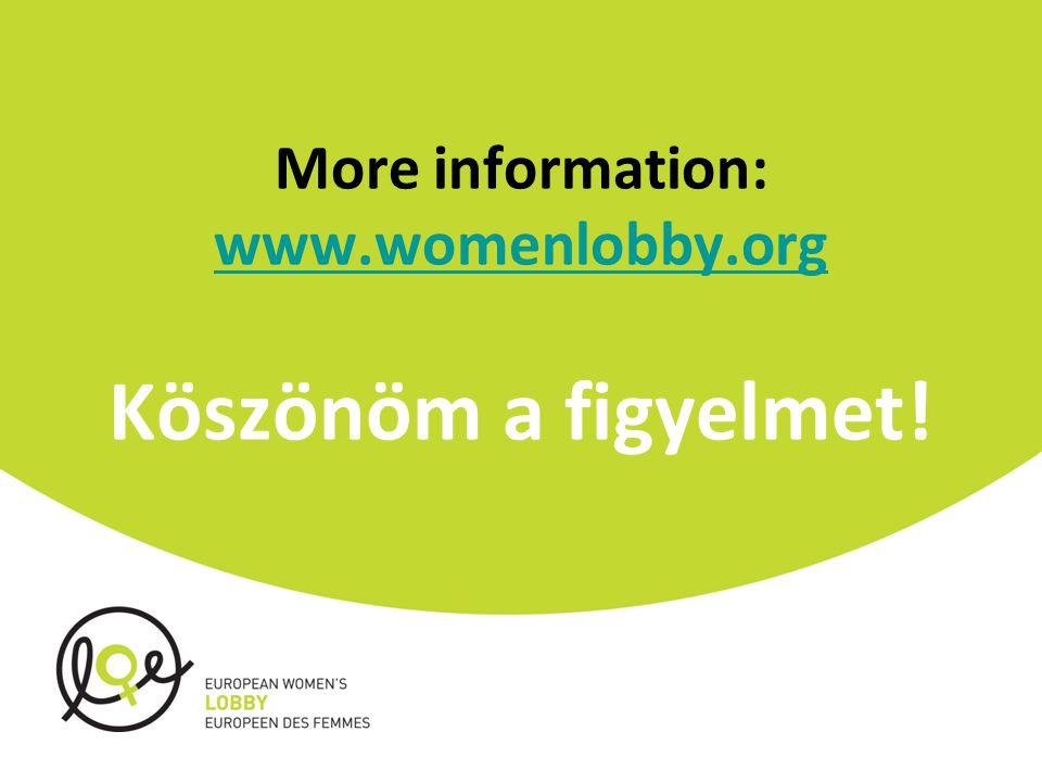 More information: www.womenlobby.org Köszönöm a figyelmet! www.womenlobby.org