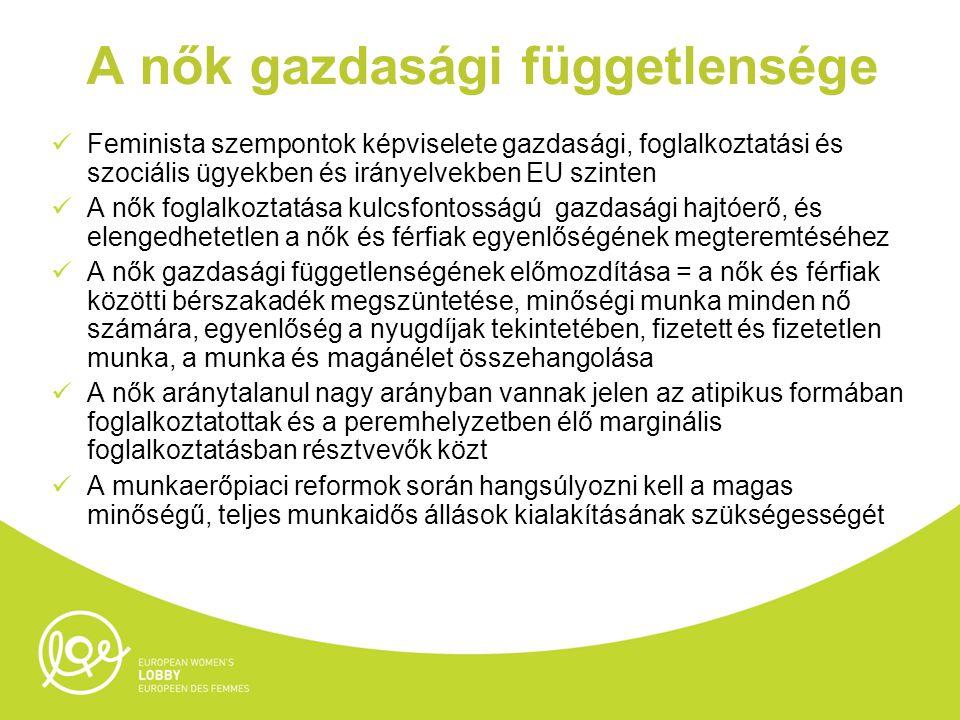 A nők gazdasági függetlensége Feminista szempontok képviselete gazdasági, foglalkoztatási és szociális ügyekben és irányelvekben EU szinten A nők foglalkoztatása kulcsfontosságú gazdasági hajtóerő, és elengedhetetlen a nők és férfiak egyenlőségének megteremtéséhez A nők gazdasági függetlenségének előmozdítása = a nők és férfiak közötti bérszakadék megszüntetése, minőségi munka minden nő számára, egyenlőség a nyugdíjak tekintetében, fizetett és fizetetlen munka, a munka és magánélet összehangolása A nők aránytalanul nagy arányban vannak jelen az atipikus formában foglalkoztatottak és a peremhelyzetben élő marginális foglalkoztatásban résztvevők közt A munkaerőpiaci reformok során hangsúlyozni kell a magas minőségű, teljes munkaidős állások kialakításának szükségességét