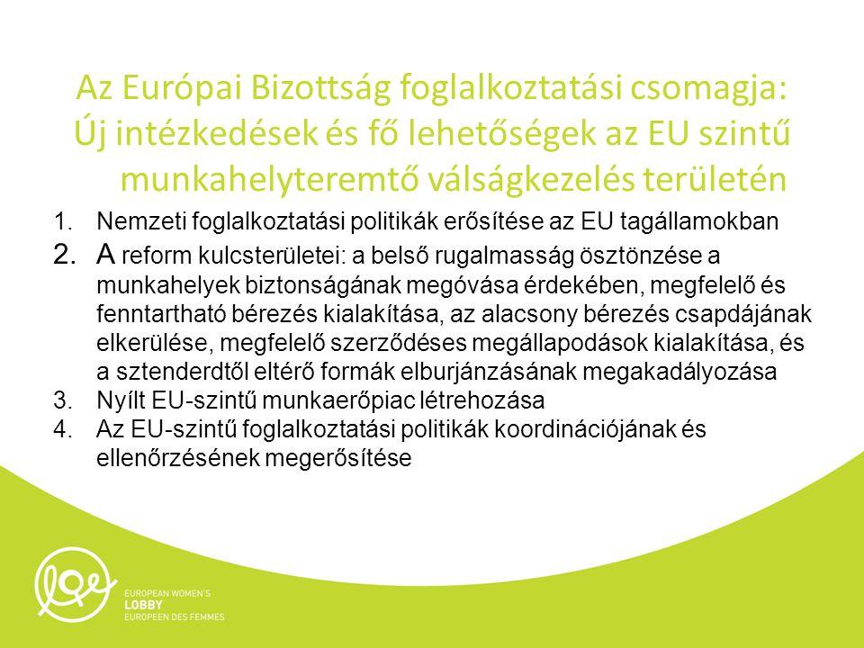 Az Európai Bizottság foglalkoztatási csomagja: Új intézkedések és fő lehetőségek az EU szintű munkahelyteremtő válságkezelés területén 1.Nemzeti foglalkoztatási politikák erősítése az EU tagállamokban 2.A reform kulcsterületei: a belső rugalmasság ösztönzése a munkahelyek biztonságának megóvása érdekében, megfelelő és fenntartható bérezés kialakítása, az alacsony bérezés csapdájának elkerülése, megfelelő szerződéses megállapodások kialakítása, és a sztenderdtől eltérő formák elburjánzásának megakadályozása 3.Nyílt EU-szintű munkaerőpiac létrehozása 4.Az EU-szintű foglalkoztatási politikák koordinációjának és ellenőrzésének megerősítése