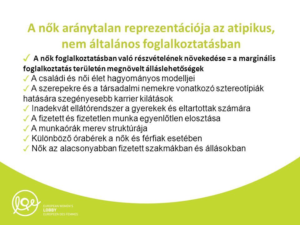 Az atipikus foglalkoztatás helyzete Az atipikus foglalkoztatás különböző formái - részmunkaidő - marginális foglalkoztatás - határozott idejű munkaszerződás - ideiglenes foglalkoztatás - állásmegosztás - távmunka