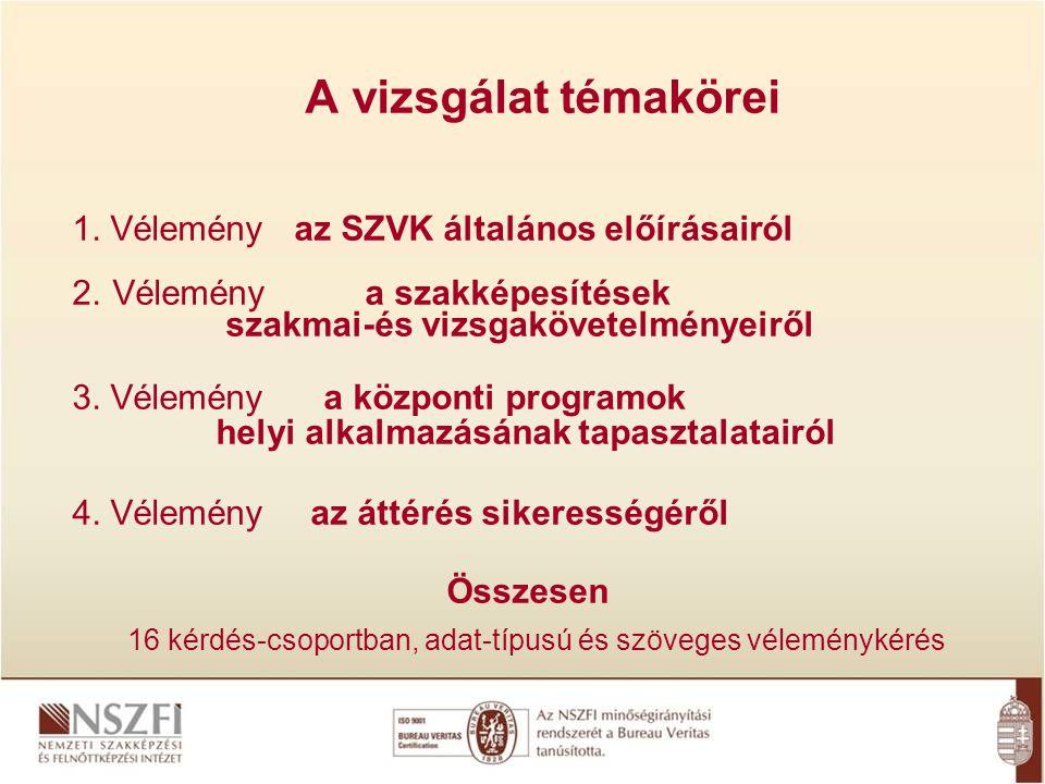 A vizsgálat témakörei 1. Vélemény az SZVK általános előírásairól 2. Vélemény a szakképesítések szakmai-és vizsgakövetelményeiről 3. Vélemény a központ