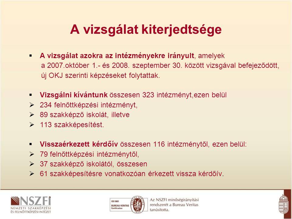 A vizsgálat kiterjedtsége  A vizsgálat azokra az intézményekre irányult, amelyek a 2007.október 1.- és 2008. szeptember 30. között vizsgával befejező