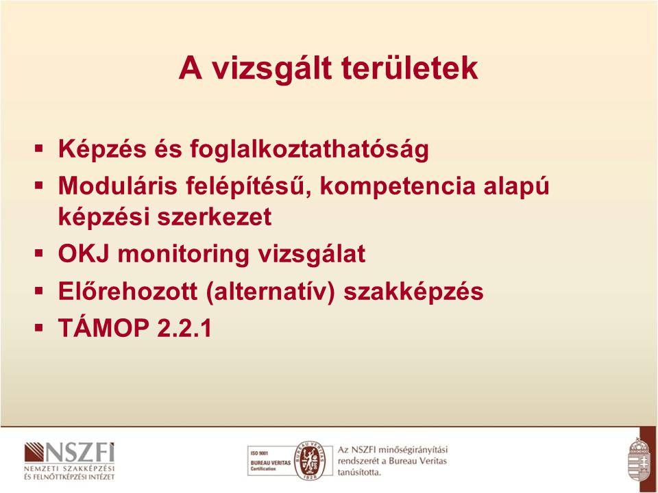 A vizsgált területek  Képzés és foglalkoztathatóság  Moduláris felépítésű, kompetencia alapú képzési szerkezet  OKJ monitoring vizsgálat  Előrehoz