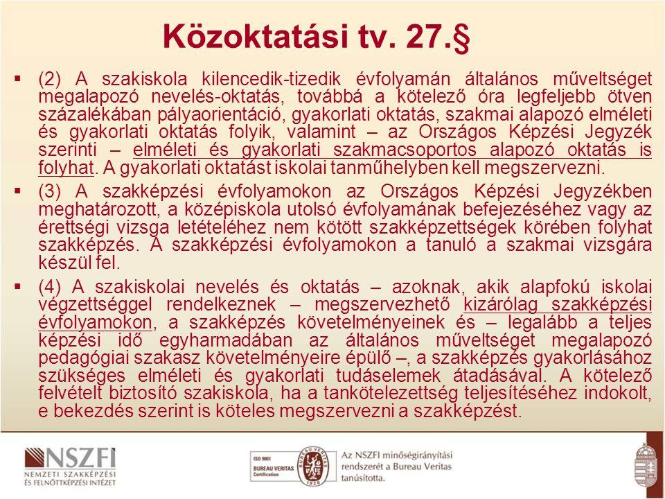 Közoktatási tv. 27.§  (2) A szakiskola kilencedik-tizedik évfolyamán általános műveltséget megalapozó nevelés-oktatás, továbbá a kötelező óra legfelj