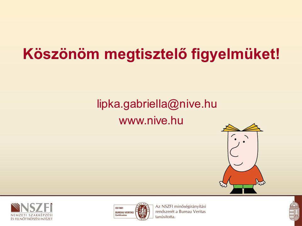 Köszönöm megtisztelő figyelmüket! lipka.gabriella@nive.hu www.nive.hu