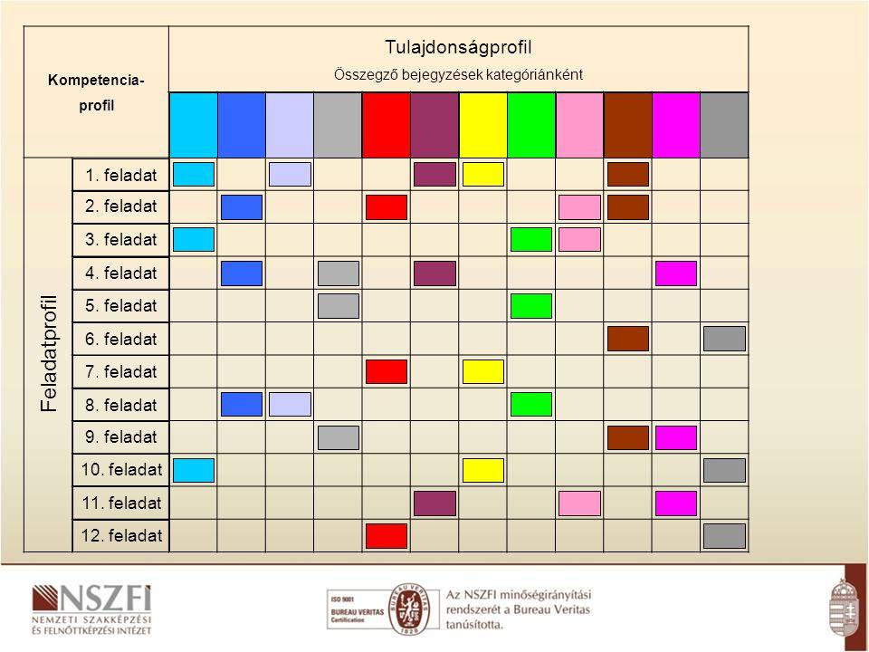 Kompetencia- profil Tulajdonságprofil Összegző bejegyzések kategóriánként Feladatprofil 1. feladat 2. feladat 3. feladat 4. feladat 5. feladat 6. fela