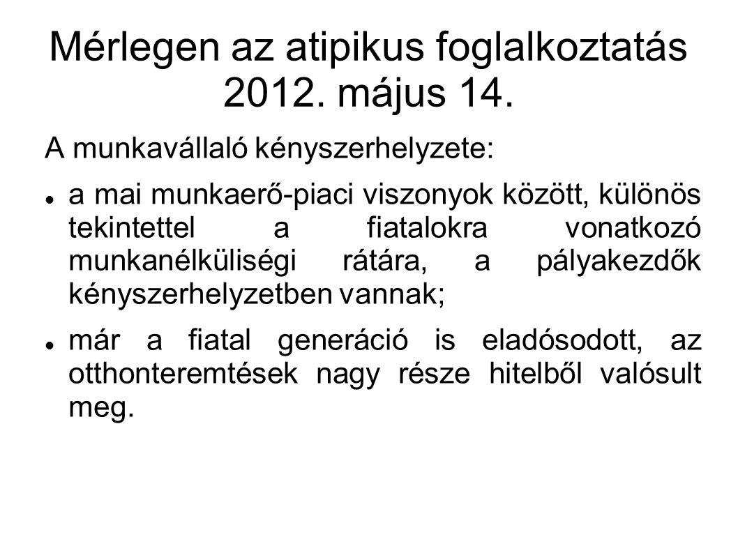 Mérlegen az atipikus foglalkoztatás 2012. május 14.