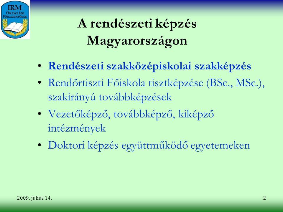 2 A rendészeti képzés Magyarországon Rendészeti szakközépiskolai szakképzés Rendőrtiszti Főiskola tisztképzése (BSc., MSc.), szakirányú továbbképzések Vezetőképző, továbbképző, kiképző intézmények Doktori képzés együttműködő egyetemeken 2009.