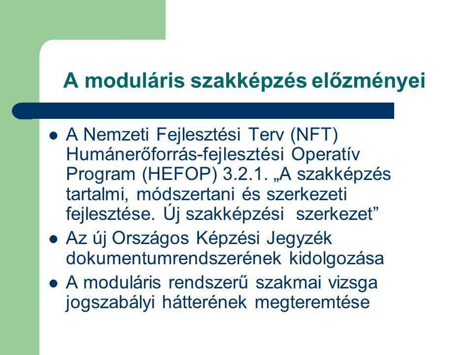 A moduláris szakképzés előzményei A Nemzeti Fejlesztési Terv (NFT) Humánerőforrás-fejlesztési Operatív Program (HEFOP) 3.2.1.