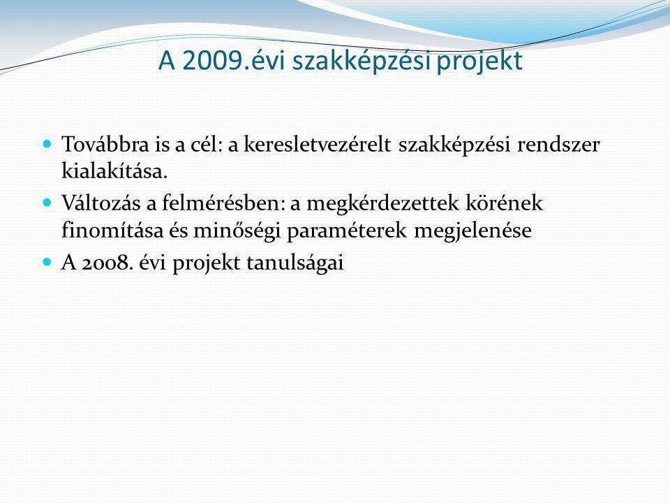 A 2009.évi szakképzési projekt Továbbra is a cél: a keresletvezérelt szakképzési rendszer kialakítása.